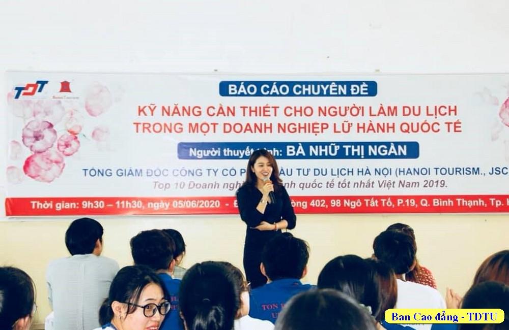 Bà Nhữ Thị Ngần giới thiệu về Công ty cổ phần đầu tư du lịch Hà Nội (Hanoi Tourism.,JSC)